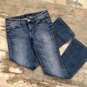 "WHBM ""blanc"" medium wash bootcut jeans size 4R"